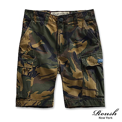 ROUSH (迷彩) 菱格車法高磅數多口袋水洗短褲 ( 3 色)