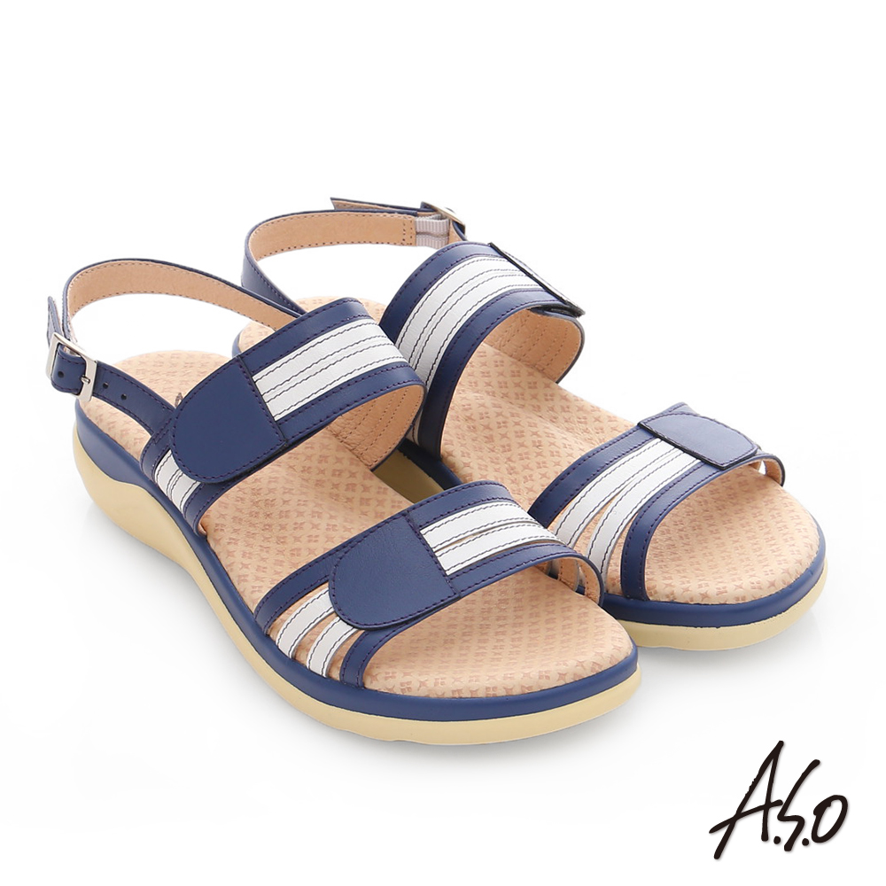 A.S.O 挺麗氣墊 真皮撞色奈米魔鬼氈氣墊涼拖鞋 藍色