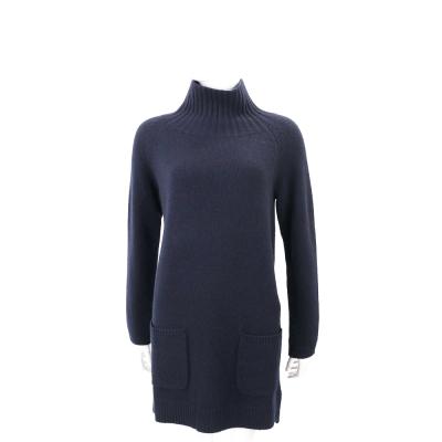 Max Mara-'S Max Mara 深藍色立領長版羊毛針織上衣(50%WOOL)