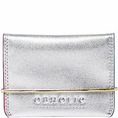 OBHOLIC 銀色牛皮信用卡套卡片夾