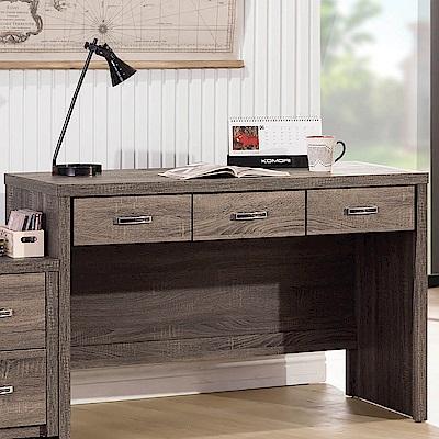 H&D 亞瑟鋼刷4尺三抽書桌 (寬120X深56X高79cm)