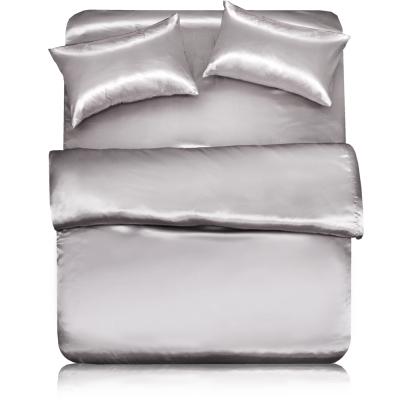 【亞曼達Amanda】晶心‧雙人四件式緞面床包組-個性灰