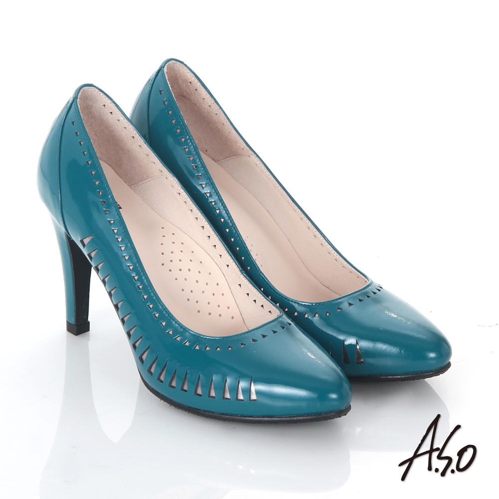 A.S.O 輕透美型 鏡面真皮側鏤空高跟鞋 藍