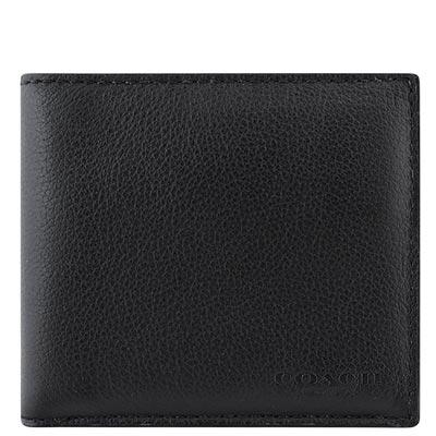 COACH-黑色皮革壓紋雙摺中夾