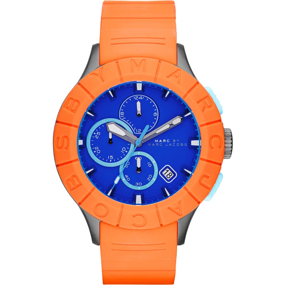 Marc by Marc Jacobs Buzz 極限運動計時腕錶-藍x橘/44mm