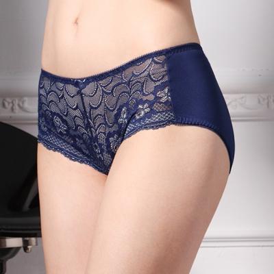 可蘭霓Clany  雙色蕾絲吸排M-XL中腰褲 理智藍