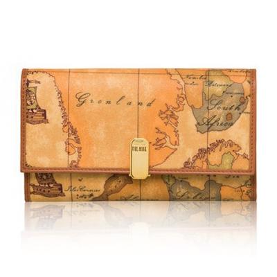 Alviero Martini 義大利地圖包 夾式16+8卡零錢長夾(大)-地圖黃