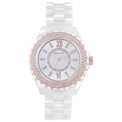 GOTO Elegance時尚晶鑽腕錶-白x玫/39mm