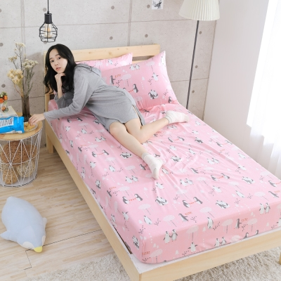 GOODDAY-企鵝(粉)-纖絨棉-防蹣系列-床包 (105x186cm)