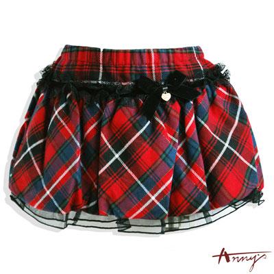 Anny經典蘇格蘭格紋網紗造型裙*4255紅