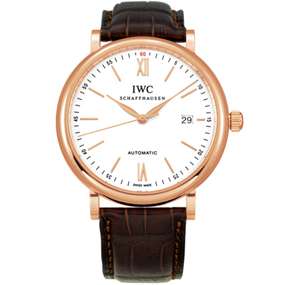 IWC 萬國錶 Portofino柏濤菲諾經典玫瑰金皮帶腕錶(IW356504)-40mm