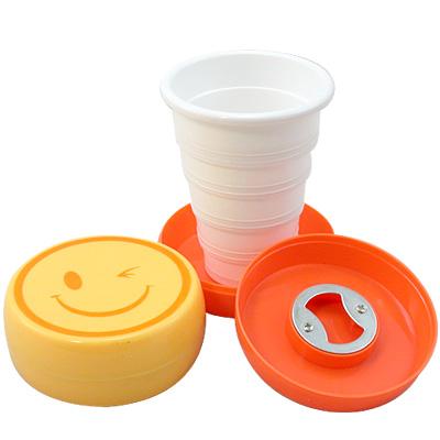 【iSFun】搞怪表情*附開瓶器收納摺疊杯/隨機色