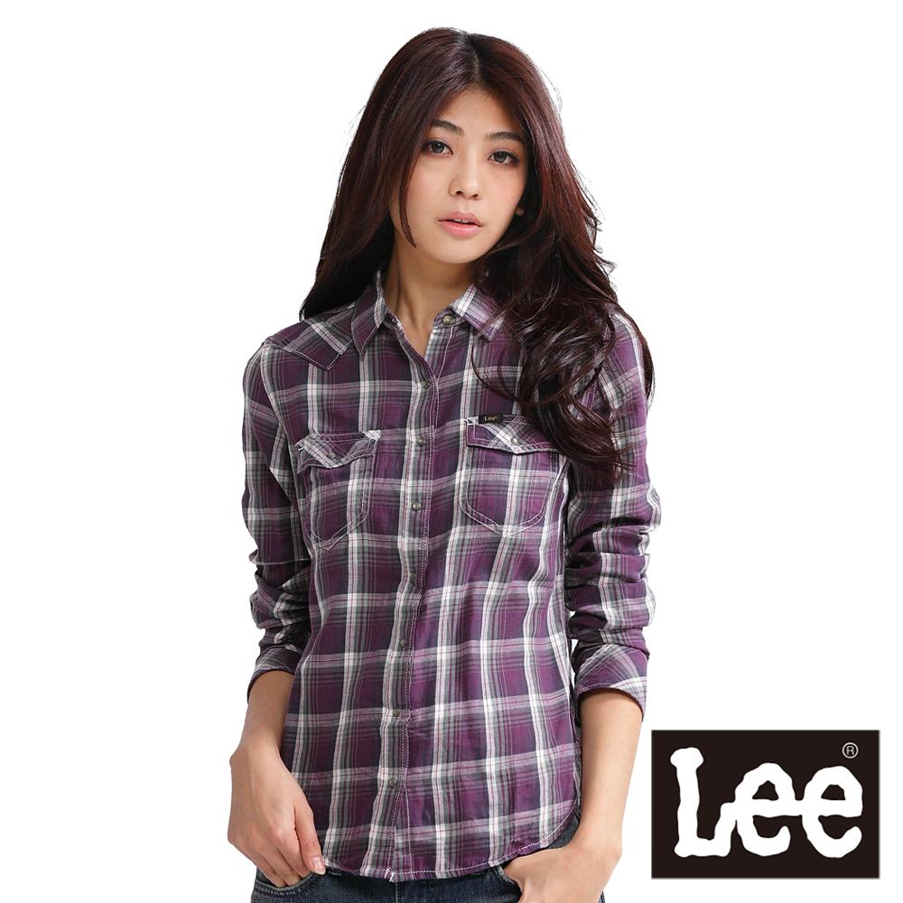 Lee 格紋襯衫 純棉格子 -女款(紫) LL110423072