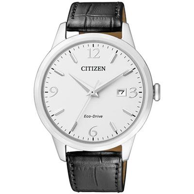 CITIZEN 時尚簡約光動能手錶(BM7300-09A)-白/40mm