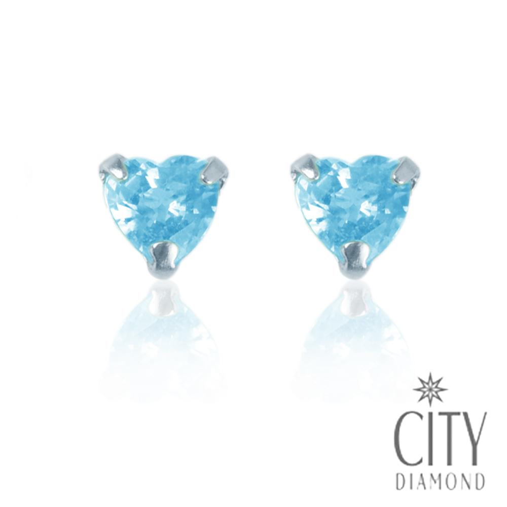 City Diamond【東京Yuki系列】天然托帕石18K愛心耳環