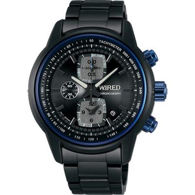 WIRED Reflection 時空跳躍計時錶(AF8U17X1)-藍圈x鍍黑/43mm