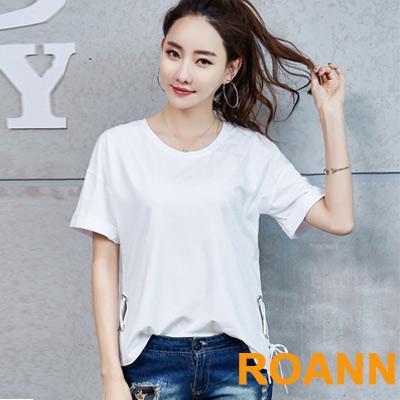 純色圓領綁帶短袖T恤 (共二色)-ROANN