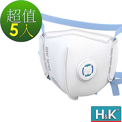 H&K 香港 5層過濾防護+環繞式ABS冷流呼吸閥 兒童小孩立體口罩 白M5入(空汙粉塵
