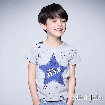 Mini Jule 童裝-上衣 潑墨感藍星星字母短袖棉T(花灰)