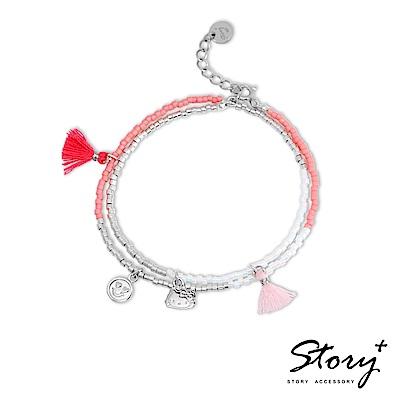 STORY-PinkHolic多層次流蘇純銀手鍊-HelloKitty款