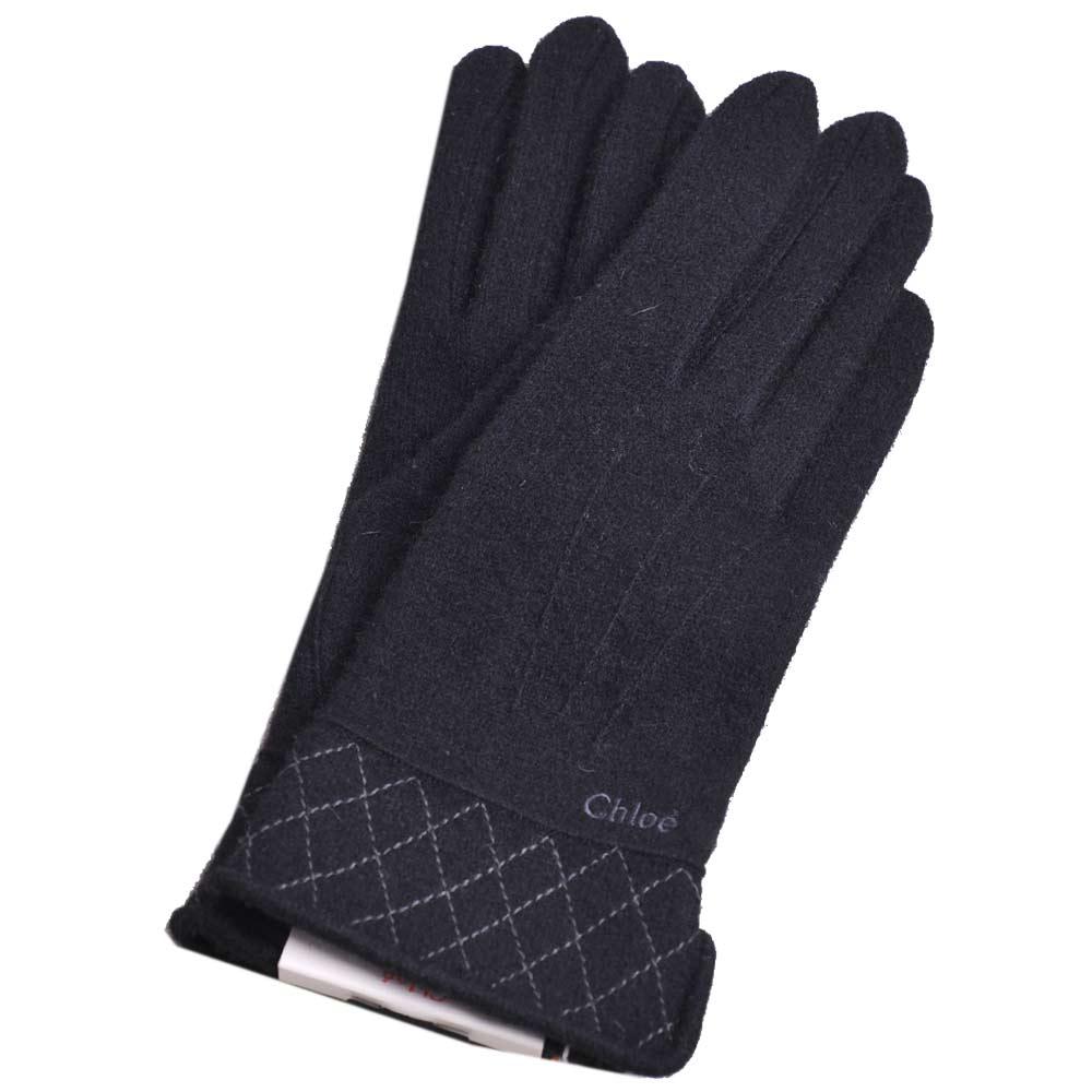 Chloe 刺繡LOGO 菱格紋造型混克什米爾羊毛手套(黑)