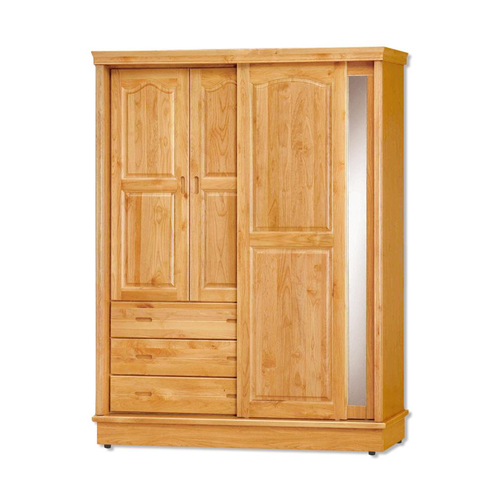 Bernice-維達5.2尺實木推門/拉門衣櫃-155x62x206cm