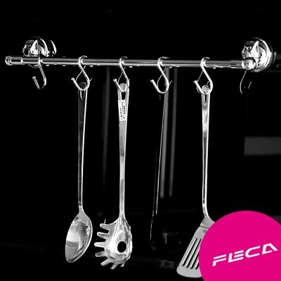 FECA 非卡  無痕強力吸盤 合金 不鏽鋼附鉤橫桿 銀