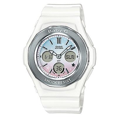 BABY-G可愛星星圖樣天空漸層色彩設計休閒錶(BGA-100ST-7)純淨白43.3mm