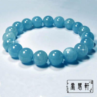養慧軒 超稀有 巴西海藍寶 圓珠手鍊(直徑12mm)
