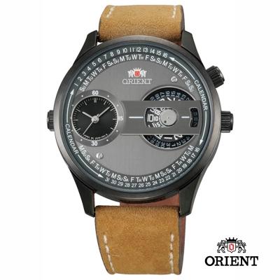 ORIENT 東方錶 DUAL系列 雙時鏤空造型腕錶- 咖啡色/43mm