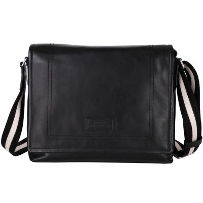 BALLY TEPOLT 經典織帶掀蓋式斜背包(黑色)