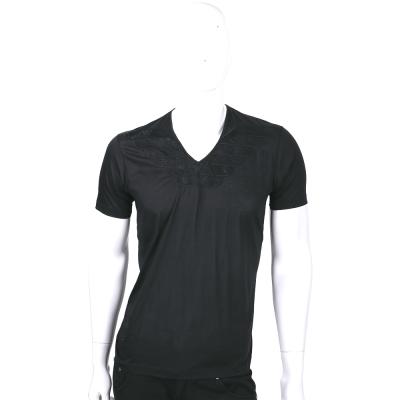 EMPORIO ARMANI 黑色刺繡LOGO拼接織花V領短袖上衣