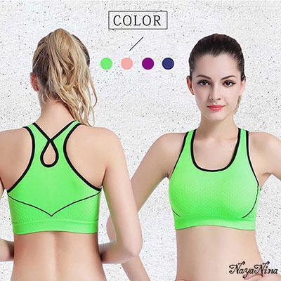 運動內衣 包覆防震工字背無鋼圈運動內衣S-L(綠) Naya Nina