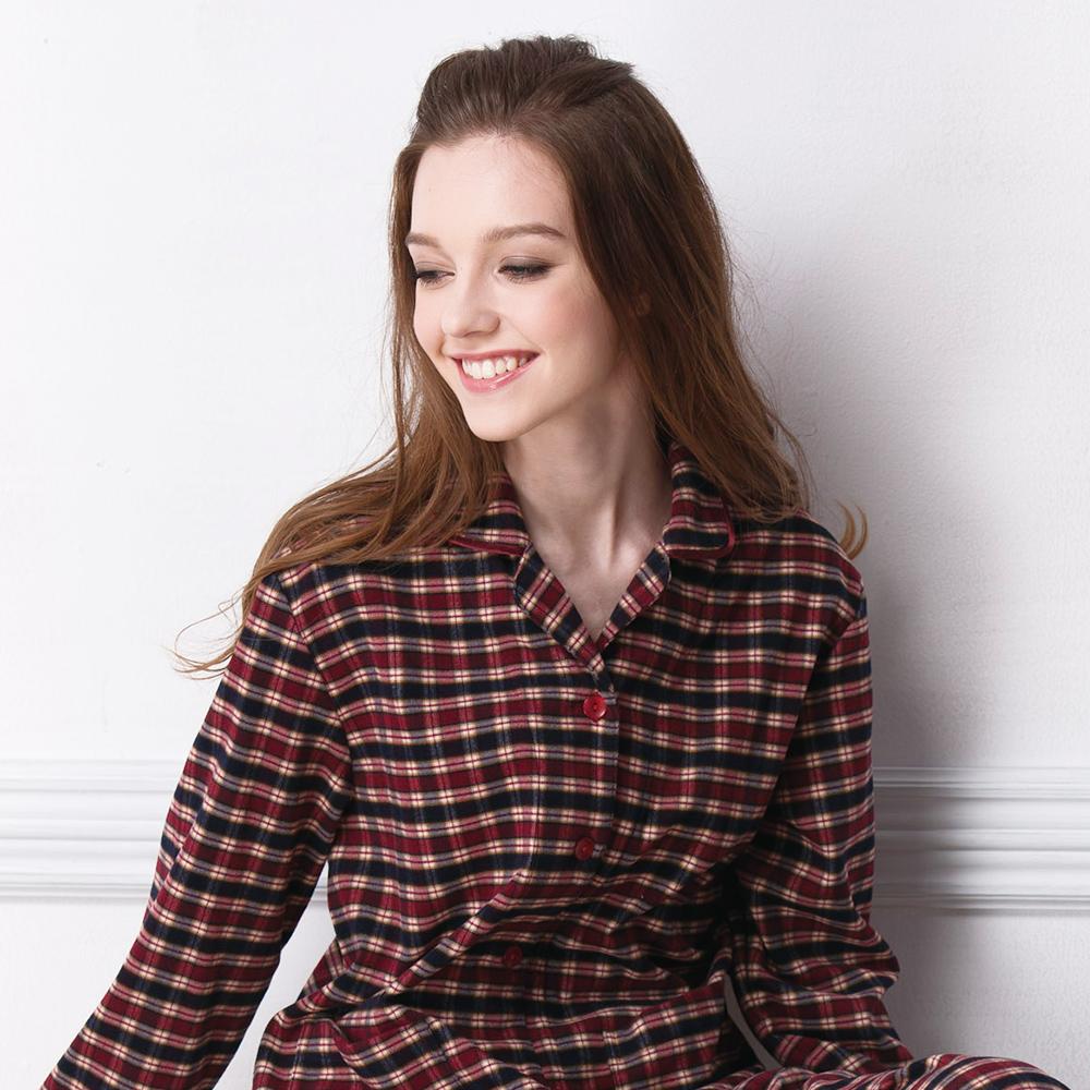 羅絲美睡衣 - 經典紅黑格紋長袖褲裝睡衣(紅黑格紋)