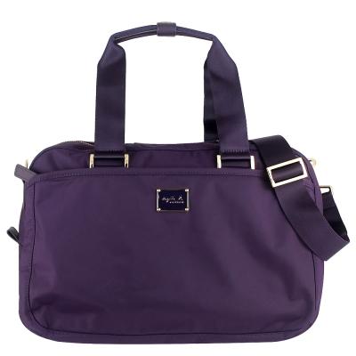 agnes b. VOYAGE 紫色尼龍方形兩用斜背/托特包