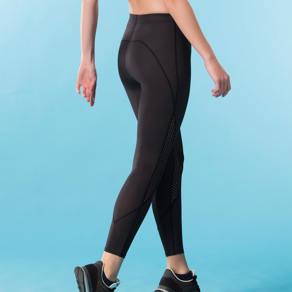 華歌爾-專業運動  M-3L 長版壓力褲(黑)吸濕快乾