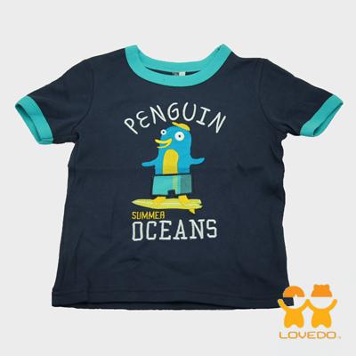 【LOVEDO艾唯多童裝】快樂企鵝拼布式短袖T恤 (深藍)