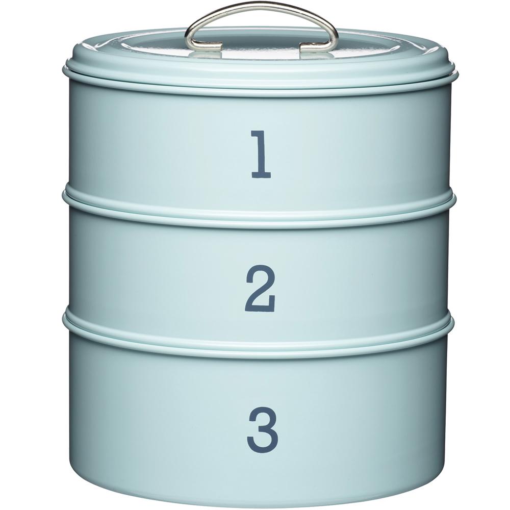 KitchenCraft 復古三層點心密封罐(藍)