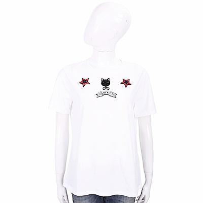 ERMANNO SCERVINO 幸運小貓圖騰白色棉質T恤
