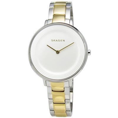 SKAGEN Ditte 優雅簡約同心圓不鏽鋼腕錶-白x金/36mm