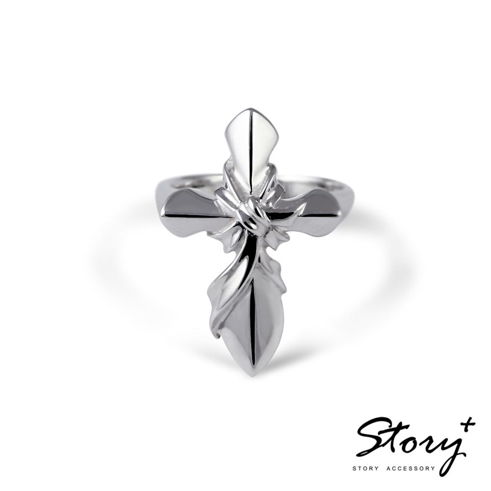 STORY故事銀飾-海克力斯之結十字架個性戒-白