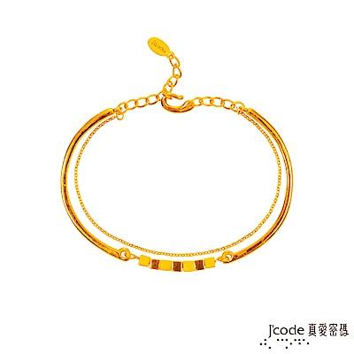 J-code真愛密碼-風格黃金手環-加鍊