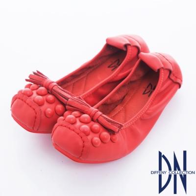 DN-經典手工-舒適輕柔牛皮彈性娃娃鞋-紅