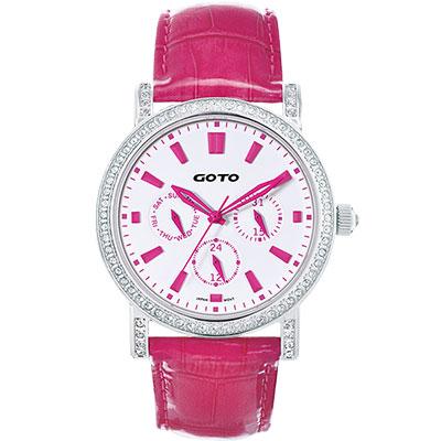 GOTO 天使的溫柔全日曆晶鑽腕錶-白x桃紅時標/40.5mm
