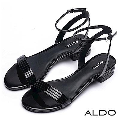 ALDO 原色金屬光幾何條紋繫帶粗跟涼鞋~尊爵黑色