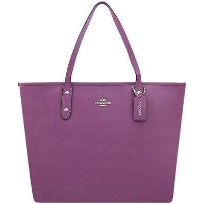 COACH 紫色馬車防刮皮革托特包
