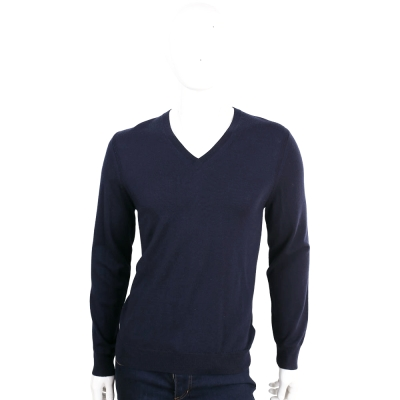 BURBERRY 深藍色手肘格紋細節設計羊毛V領針織衫(100%WOOL)