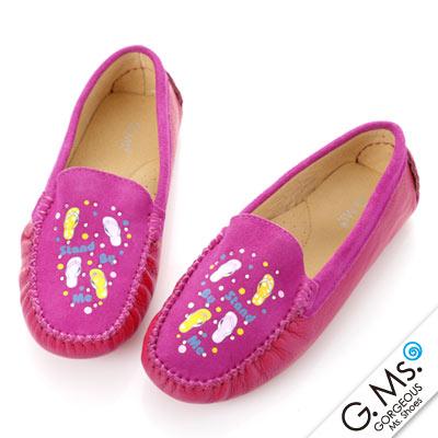 G.Ms.  親子鞋-麂皮X牛皮彩繪貼鑽休閒鞋-甜桃X紅