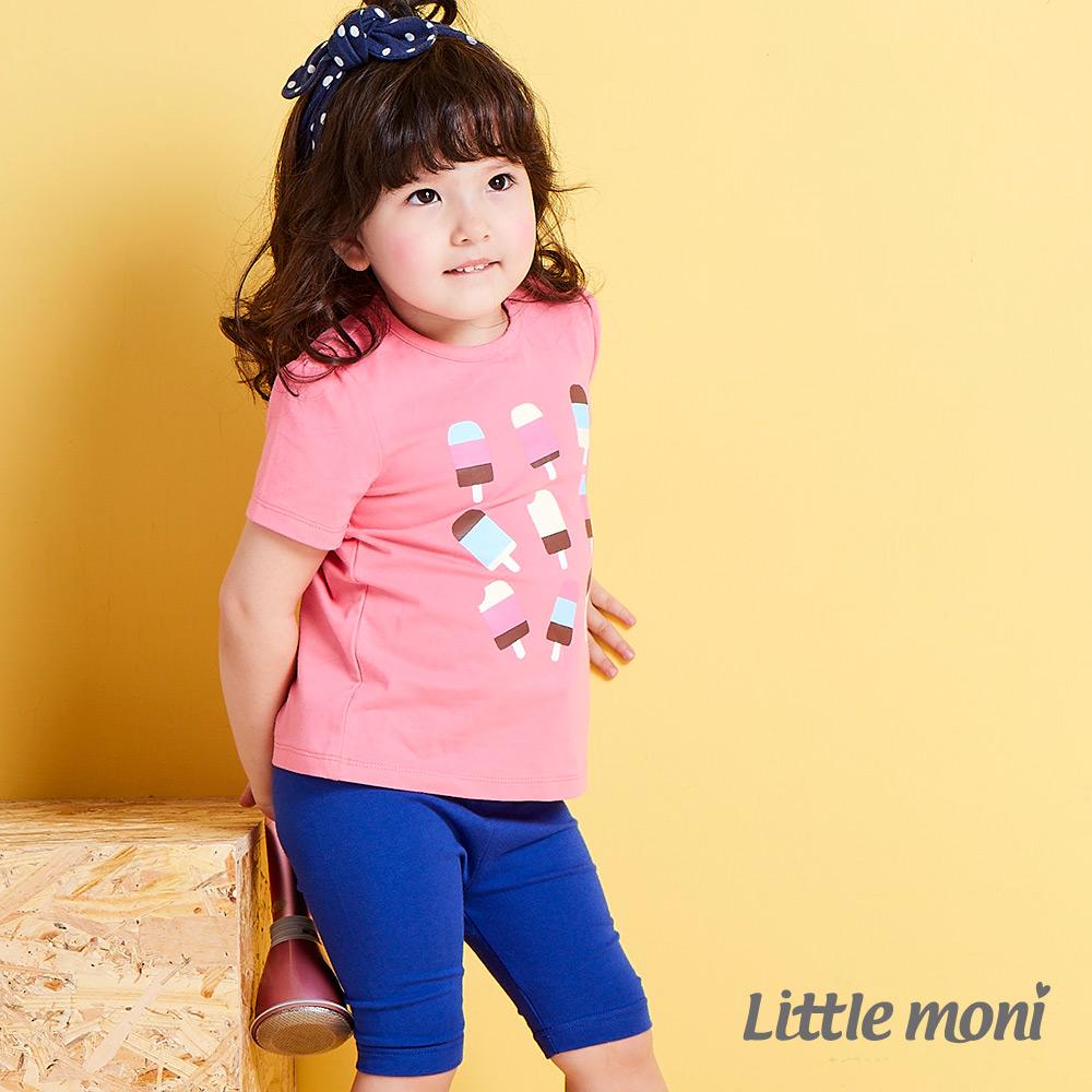 Little moni 亮彩leggings五分褲 皇家藍