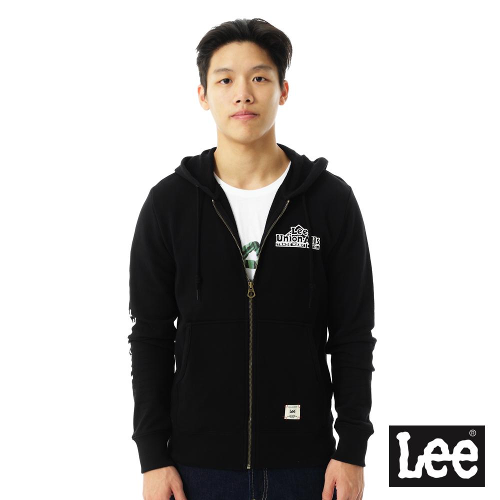 Lee 連帽外套 毛巾內裡連帽拉鍊-男款(黑)
